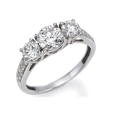 three stone diamond engagement ring atlanta